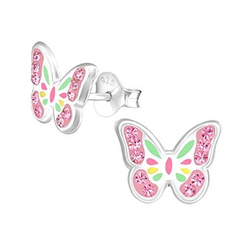 Laimons Pendientes infantiles para niñas, joyas para niños, mariposas, natural, insectos, rosa,...