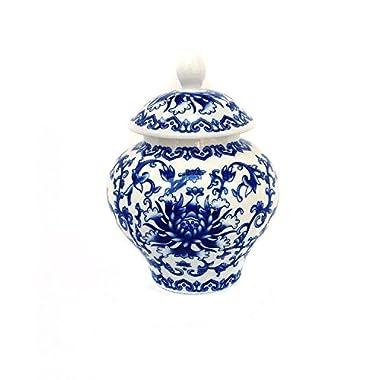 Ancient Blue and White Porcelain Tea Storage Helmet-shaped Temple Jar (Medium size)
