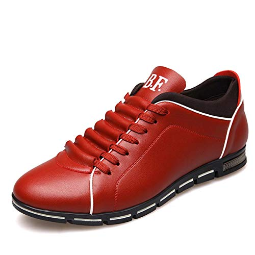 New Brand Men Shoes England Trend Casual Leisure Shoes Leather Shoes Breathable for Male Footear Loafers Men's Flats Wine red 6.5
