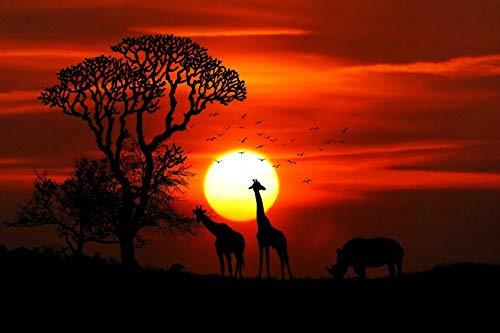 WZZPSD Puzzle 1000 Pezzi Tramonto sopra Gli Animali della Savana Africana Salotto Puzzle in Legno Fai da Te Stile Regalo per La Casa