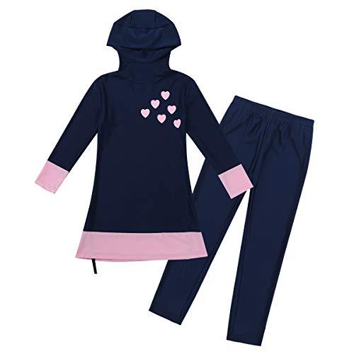 Agoky Mädchen Burkini Kinder Badeanzug Muslim Islamischen Full Cover Bademode Top + Hosen Wassersport UV Schutz Anzug Navy Blau 152-164