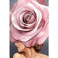 1000ピースの木製パズル、大人と若者の知的ゲームパズル、動物、風景、漫画、さまざまなパターンのアート、休日、家の装飾の贈り物- ピンクのバラの花 75x50cm