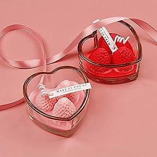 Velas perfumadas con forma de corazón, romántico rojo con perfume de rosa, decoración para bodas, festivales, fiestas, cum...