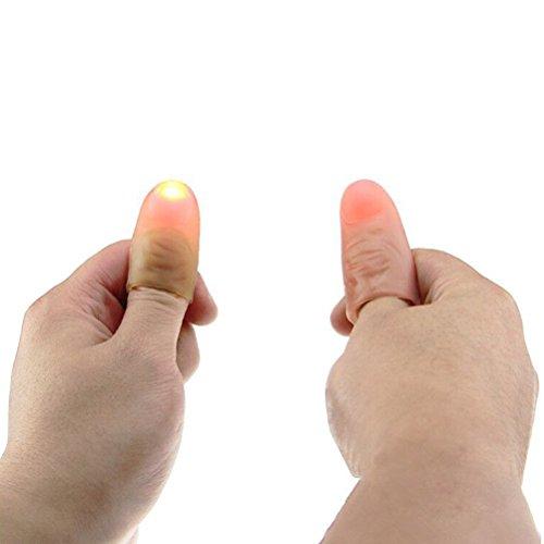 Ultnice, Gioco di magia: punta morbida per pollici con lampadina, luminosa e lampeggiante(colore casuale)