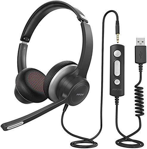 Mpow PC Headset HC6, USB Headset/ 3.5mm Computer Headset with Microphone, Lightweight Business Headset...