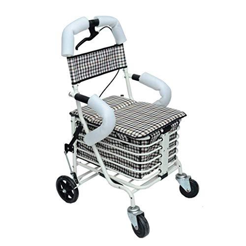 Vierwielige Push Winkelwagen, Grote Capaciteit Winkelen Opvouwbare Walker Eenvoudige Rolstoel Out Handig