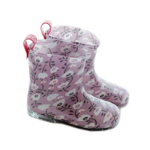 Mignon Bébé journée Pluvieuse Infant Chaussures de pluie Rain Boot pour enfant Motif floral Violet