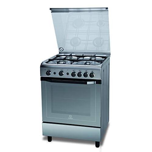 Indesit I6GG1F(X)/I, Cucina 60X60cm con Forno a Gas, a Libera Installazione, 4 Fuochi, Argento