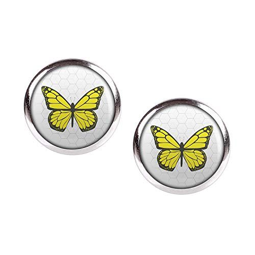 Mylery Ohrstecker Paar mit Motiv Schmetterling Gelb silber 12mm