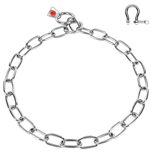 Sprenger Hundehalskette mit Haken (Schäkel) zur Zugbegrenzung aus Edelstahl I Kettenhalsband für Kurz- und Langhaar Hunde, Halsband mit 55 cm