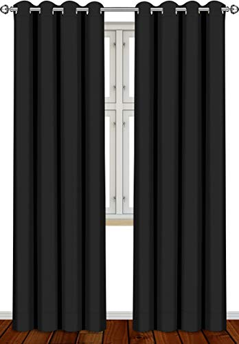 Utopia Bedding 2 Panels Grommet Blackout Curtains Thermal Insulated for Bedroom, W52 x L84 Inches, Black