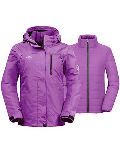 Wantdo Women's 3-in-1 Ski Jacket Insulated Waterproof Short Parka Light Purple M