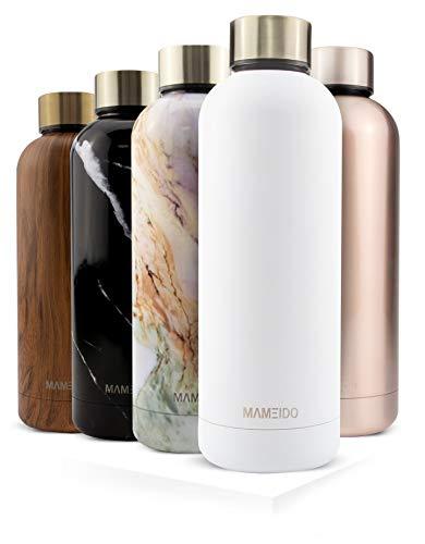MAMEIDO Trinkflasche Edelstahl - Weiss Matt Gold - 500ml, 0,5l Thermosflasche - auslaufsicher, BPA frei - schlanke isolierte Wasserflasche, leichte doppelwandige Isolierflasche