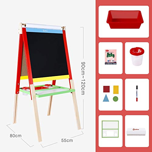 Standing kunst ezel -Tray, krijt, Eraser, Whiteboard Pen, The Ultimate All-in-One Houten Kid's kunst ezel, Young Artist Easel (roze, blauw, groen, rood) 411 (Color : Red)