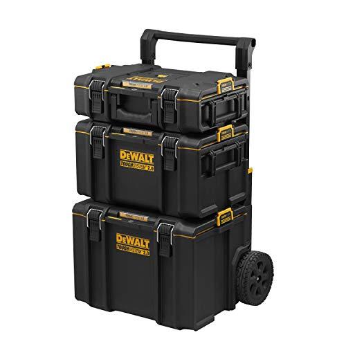 DEWALT DWST83402-1 Conjunto TOUGHSYSTEM DS450 + DS300 + DS166, Negro Y Amarillo, 2 Coffrets + Coffret sur Roulettes IP65