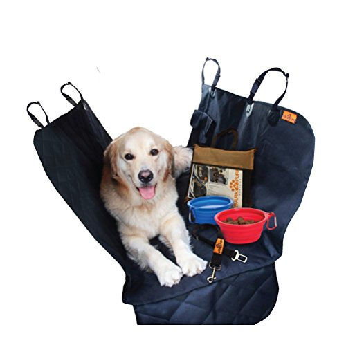 Dog car Seat Protector Cover for Cars SUV's and Small Trucks – Anti-Slip Rear Bench Waterproof Pet Hammock for Back Seat with Side Flaps, Anchors, Seat Belt and Latch Openings, Plus 4 gifts