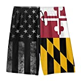 Casual Hawaiian Swim Trunks, Flag of Maryland and Black American Flag Beach Board Shorts Summer Surf Quick Dry Sports Swimsuit Pants for Youth Teen Boys
