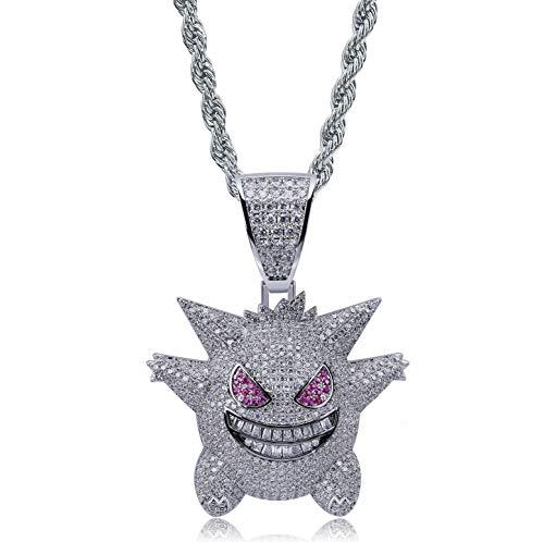 """KMASAL Unisex-Halskette mit Anhänger """"Gengar"""", vollständig mit Kristallen besetzt, 18 Karat vergoldet, mit 61 cm langer Edelstahlkette, für Herren und Damen"""