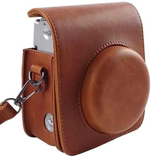 Protective Case Compatible with Fujifilm Instax Mini 90 Instant Film Camera with Adjustable Strap - Brown by SAIKA