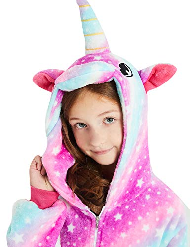 ABENCA Unisex Kids Fleece Onesie Unicorn Pajamas Animal Christmas Halloween Cosplay Costume Sleepwear,Purple Unicorn Sky New, 130