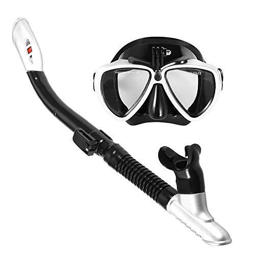 Lixada snorkelmasker snorkel instellen anti-condens zwemmen duikbril met eenvoudige adem droog snorkel