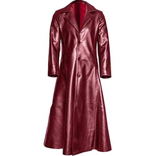 ZHANSANFM Herren Leder Trenchcoat Knopf Lange Jacke Männer Vintage Revers Distressed Ledermantel Winter Frack Mantel Regular Fit Elegant Herrenjacke Gothic Nationalstil Sweatjacke (L, rot)