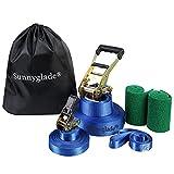 Sunnyglade 50ft Slackline Kit with Training Line, Tree Protectors, High Grade Ratchet, Arm Trainer...