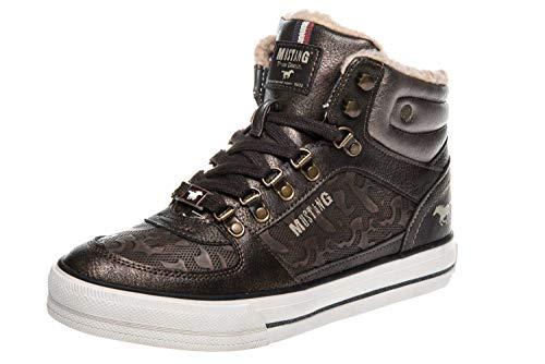 Mustang Shoes High Top Sneaker in Übergrößen Mokka 1288-602-303 große Damenschuhe, Größe:45