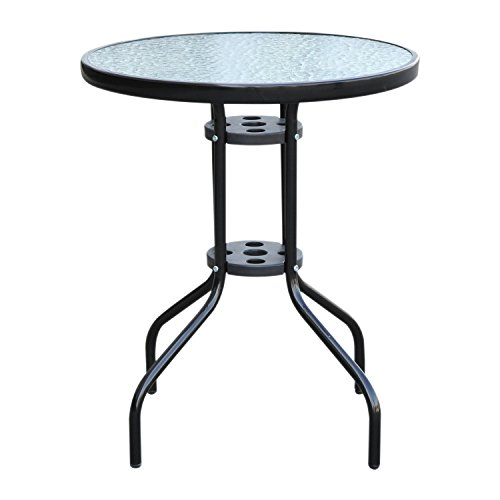 Outsunny Bistro Table Outdoor Tempered Glass Top Table Garden Round Dining Table - 60cm Diameter