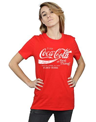 Coca-Cola Donna Atlanta Georgia Distressed Boyfriend T-Shirt Fit Rosso Small