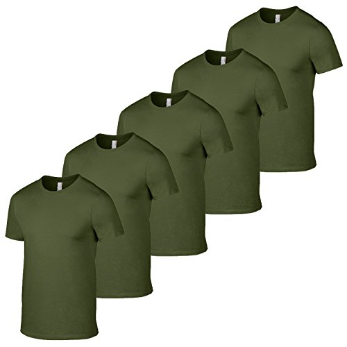 Gildan Confezione di 5 magliette da uomo, stile esercito britannico, colori militari e mimetici, da pesca Verde militare. M 97/102 cm petto