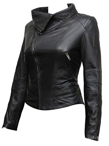Ladies Womens Leather Biker Jacket Real Sheep Leather Asymmettric BNWT (2X-Large 16) Black