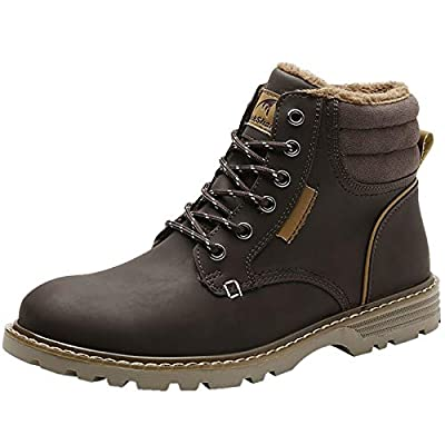 Quickshark Mens Winter Snow Boots Waterproof Non Slip Insulated Shoes Warm Hiking Boot Fur Lined A-Brown Size 9