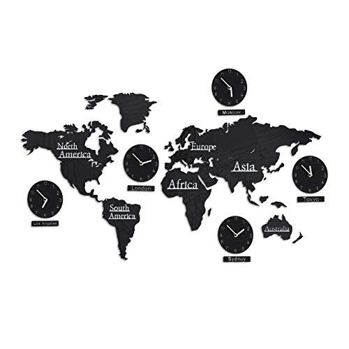 Relaxdays Weltkarte Holz mit 5 Uhren, 10 Städteschilder, 3D Landkarte Welt, mit Schablone, H x B: 61 x 113 cm, schwarz, 1 Stück