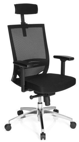 hjh OFFICE 657260 Profi Bürostuhl Porto MAX HIGH Stoff/Netz Schwarz Bürosessel ergonomisch, hohe Rückenlehne