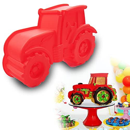 Gloryit Backform Traktor Antihaft Silikon Kuchenform Silikonform Bulldog Motivform Silikon Traktor für Kuchen EIS Schokolade Brot Dessert Pudding rote Kuchenform zum backen für Kindergeburtstag