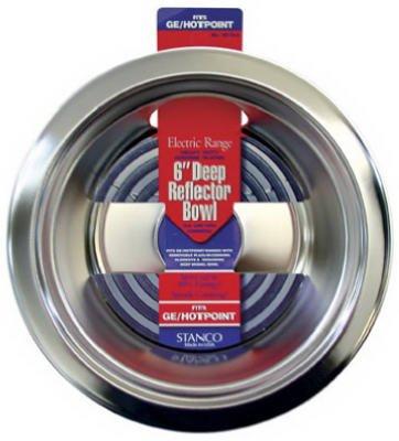 Stanco Deep Reflector Bowl Fits Ge / Hotpoint Ranges Chromed Steel, Porcelain 6 In.