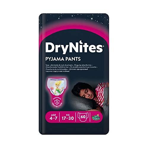 Huggies DryNites hochabsorbierende Nachtwindeln bei Bettnässen, für Mädchen 4-7 Jahre, 60 Stück