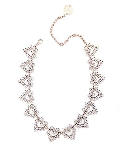 AmDxD Versilbert Damen Halskette Hohl Herz Anhänger Statementkette Brautschmuck Silber 47CM