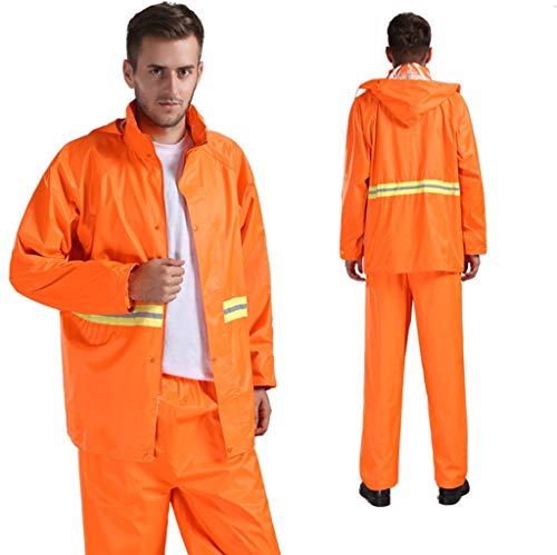 LSY@ Polyester volwassen split regenjas weg administratie sanitatie plicht reflecterende regenjas regenbroek pak outdoor wandelen reizen mode enkele effen poncho ademend comfortabel mooi oranje