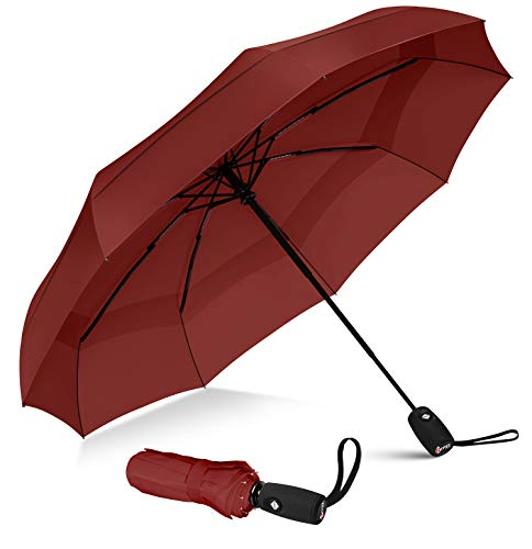 Repel Umbrella Windproof Travel Umbrella with Teflon Coating (Red)