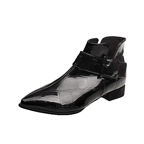 ALIKEEY Bottes Neige Bottes Mollets Larges Bottes Hautes Hiver Femmes en Cuir Massif Zipper Martin épaisse Bottes Bout Rond Chaussures