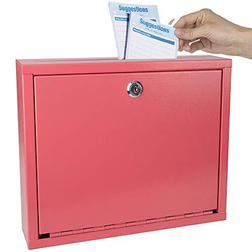 Kyodoled Suggestion Box with Lock Wall Mounted,Mail Box, Key Drop Box Cards, Safe Lock Box,Ballot Box,Donation Box,3W x 10H x 12L Inch Red