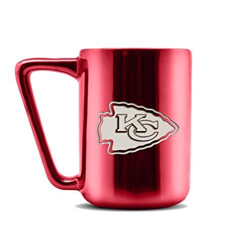 NFL Kansas City Chiefs Keramik-Kaffeetasse mit Metallic-Finish | Pro-Grade Keramik | Lasergraviertes Team-Logo | BPA-frei | spülmaschinenfest | 473 ml
