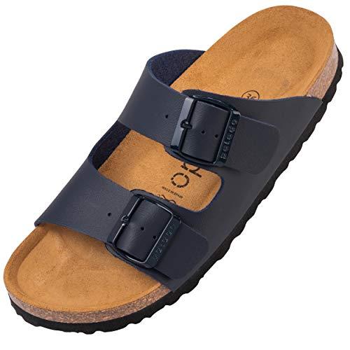 Palado® Damen Sandale Korfu | Made in EU | Pantoletten in modischen Farben | 2-Riemen Sandaletten mit Natur Kork-Fussbett | Herren Hausschuhe mit Leder-Laufsohle Basic Matt Blau 39 EU
