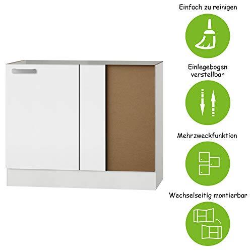MMR Eck-Unterschrank Küche DALLAS, ohne Arbeitsplatte, 1-türig, 100 cm breit, wechselseitig montierbare Tür, Weiß