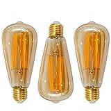 Lamparas Bombillas Edison de Filamento de LED E27 6W ST64 Vintage Retro Antigua Luz Calida 2400K Equivalente 60W Bombillas Incandescentes, AC85~265V, Pack de 3 de Enuotek