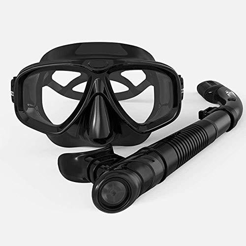 ZOUSHUAIDEDIAN Juego de máscara de Snorkel, Engranaje de Snorkel  Set de Snorkel seco y máscara Adultos Anti Niebla de 180 Grados Vista al mar, Muy Adecuada para los entusiastas del Buceo, Negro