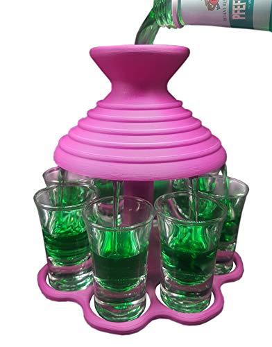Schnapsschirm® Dein schneller Schnapsausgießer für 8 Pinnchen GLEICHZEITIG Geschenkidee - Gadget - Partyspaß - Trinkspiel - Schnaps-Verteiler - Schnapshalter - Trichter (Pink Edition)