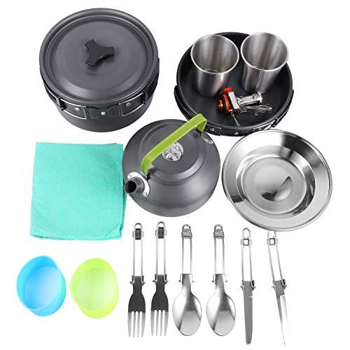 BESPORTBLE Camping Cookware Pot Set Herramientas de Cocina de Aleación de Aluminio con Sartén Quemador Olla Cubiertos Antiadherentes Ollas de Cocina Sartén para Senderismo Mochilero